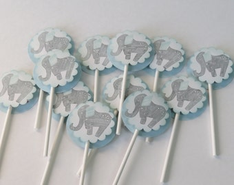 """Cupcake Toppers Baby Shower """"Blue Elephant"""" (12)"""