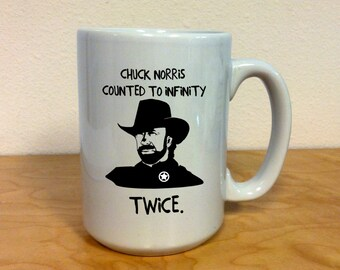Chuck Norris 15 oz. Coffee Mug Adult Novelty, Chuck Norris Counted to Infinity Twice