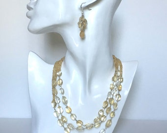 Genuine Citrine  Gemstone  Multi-Strand Necklace Set