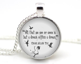 Edgar Allan Poe Necklace, 'All that we see or seem is but a dream within a dream', Poe Raven Jewelry, Literature Jewellery