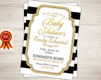 Black and Gold Baby Shower Invitation. Gold Glitter Baby Shower Invitation. Black white stripes Gold Baby Shower Invitation Printable