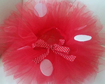 Minnie Mouse Tutu,, Minnie Mouse Red Tutu Set,  Size  0- 24 month Tutu  with ribbon bow and Black Mouse Ears