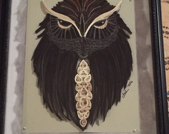 Quilled paper owl