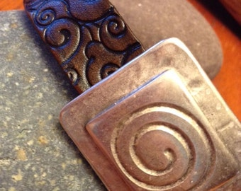 Leather Swirl Bracelet; Leather Swirl Cuff; Leather Swirl Wristband;