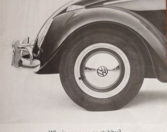 """1963 VW Beetle ad.  VW Bug.  1963 VW Bug ad.  Vintage Volkswagon ad.  Black and White.  """"Why is our Nose Stubby?"""""""