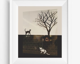 Black and white cats and tree of life,home decor,digital photography,digitalart print,room decor,gift,