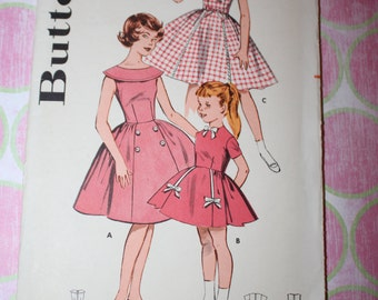 Vintage Butterick Pattern - Vintage Dress Pattern for Girls - Vintage Butterick Pattern - Rose Quartz Dresses