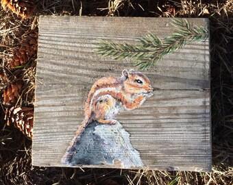 Woodland Chipmunk Pine Branch Original Oil Painting //Salvaged Wood // Rustic Decor