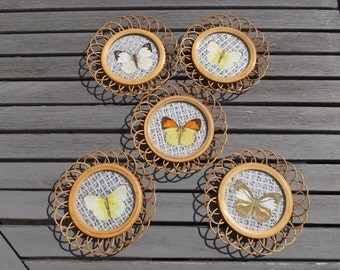 Wicker with butterflies - wicker coasters with butterfly coasters