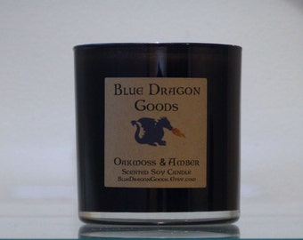 Oakmoss and Amber Natural Soy Candle, handmade, choose a size.