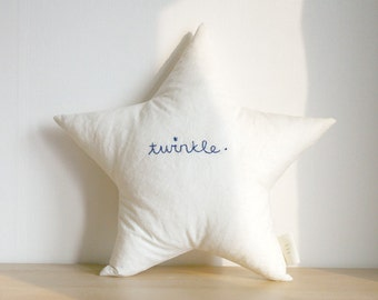 linen star cushion with hand embroidered 'twinkle' - linen beige