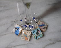 Bird Lovers Beaded Scrabble Tile Wine Charms ~ Set of 4 on Ring Holder ~ Used USA Bird Postage Stamps BlueJay Kestrel Grosbeak Bluebird