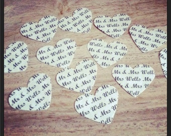 150 personalised Wedding Table Confetti Hearts, Mr & Mrs, Shabby Chic, Vintage, Rustic Wedding Reception