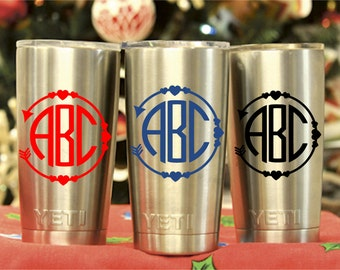 Monogram Yeti Cup Decal-Initial Decal-Laptop Decal-Car Decal-Heart Arrow Decal-Monogram Tumbler Decal-Monogram Decal-Cup Sticker-Cup Decal2