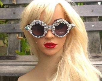 Diva sunglasses, Jeweled Sunglasses, Retro Sunglasses, Embellished Sunglasses, Circle Sunglasses, Crystal Sunglasses