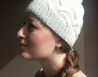 Women's wool Knit Hat white
