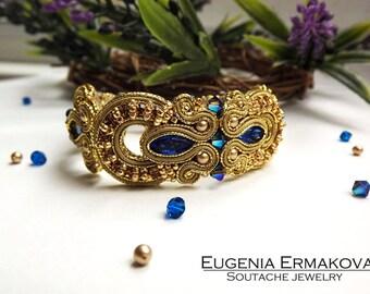 Soutache bracelet Blue gold soutache bracelet Soutache jewelry Bracelet soutache blue gold soutache bracelet with Swarovski crystals