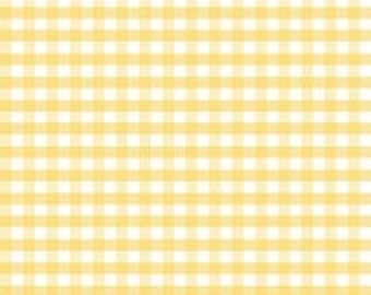 1/4 in. Medium Gingham Yellow cotton fabric by Riley Blake Designs