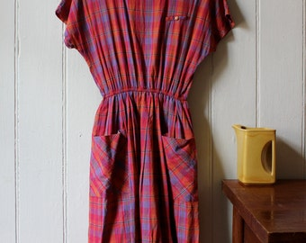 Vintage 1980's pink plaid cotton dress - Medium
