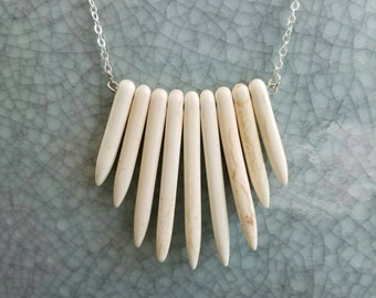 White turquoise spiked necklace