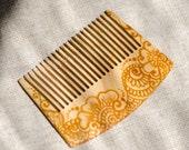 Wooden hair comb - Wood ash - Mehndi
