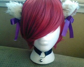 Gothic kitty cat ears headband with(optional) matching collar