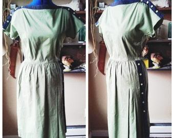 vintage olive green and black Sara Basseti dress