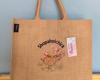 Funny swirly chicken embroidered large shopping tote grocery bag By Sophie Appleton a popular U.k. Artist 'Shopaholchick' Country Swirls