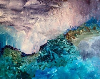 """Beautiful Blue Abstract Landscape Decorative Painting - """"Alice"""" ( 11 x 14 )"""