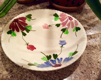 Blue Ridge Pottery  Mardi Gras Bowl Candlewick Edge, Handpainted Plate, Collectible Bowl