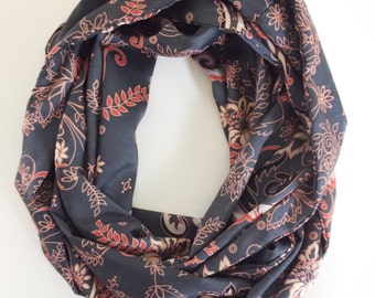 Grey & Coral Floral Infinity Scarf