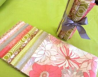 Nine Piece, Six Inch Strip fabric bundle - Soft Florals and Coordinating Fabrics