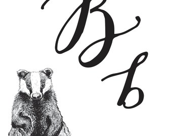 "Printable Nursery Animal Initial ""B"" - Alphabet Letter Downloadable Art Print"