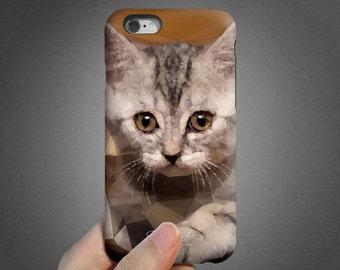 Kitty iPhone 6 case, iPhone 6s case, iPhone 6 plus case, iPhone 6s Plus case, iPhone 5s case, SE case, tough case, brown khaki cream T731
