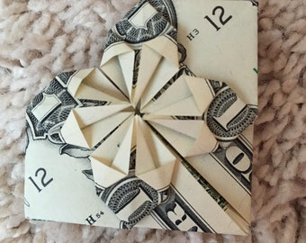Dollar Bill Origami Heart with Stars
