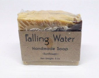Sunflower Soap Falling Water Soap Company, Handmade Soap, Homemade, Cold Proccess Soap, CP, Vegan Soap, All Natural