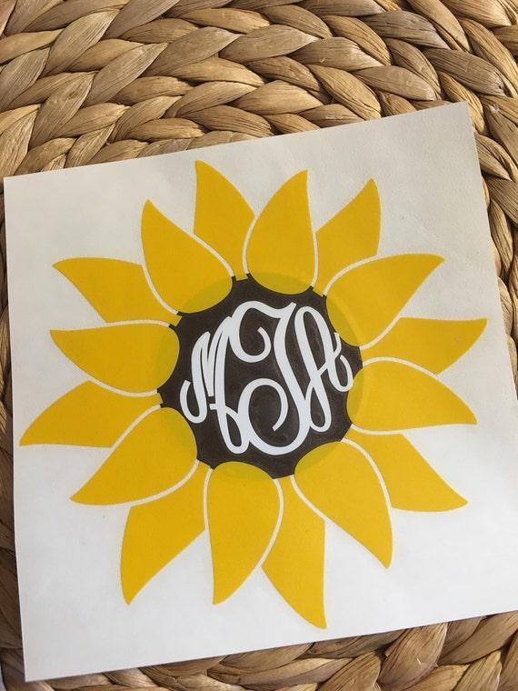 monogrammed vinyl sunflower vinyl decal by miltonmonograms on etsy