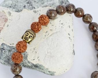 Serpentine Bracelet Rudraksha Bracelet Mens Surfer Bracelet Mala Bracelet Buddha Bracelet Summer Bead Yoga Bracelet
