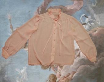 Sheer Pink ruffle high-neck blouse