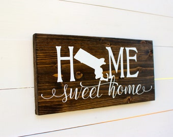 Home Sweet Home Massachusetts Rustic Entryway Wall Sign Housewarming Home Sweet Home Sign
