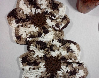 Dish Cloths, Set of Two, Wash Cloths, 100% Cotton, Handmade Crochet, Brown & Natural
