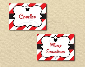 Mickey Mouse Printables, Editable Labels, Printable Labels, Mickey Mouse Birthday, mickey mouse food labels, buffet labels, editable text