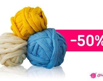 Set of 5 skein. Super Chunky Yarn, Giant Yarn, Super bulky yarn, Super Thick Yarn, Big Loop Yarn. 175 oz (5000g). PROMO Price – 50%
