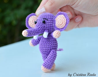 Elephant plush, tiny crochet animal, crochet elephant, purple elephant, miniature elephant, keychain elephant toy, small elephant gift
