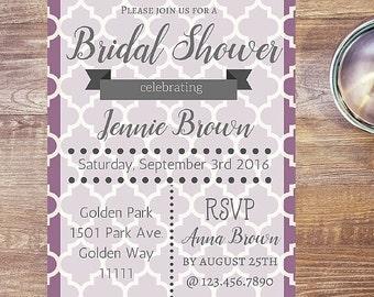Custom Invitation, Purple Wedding Invitations, Bridal Shower Invite, Printable Invitation, Birthday Invitation, Anniversary Invitation