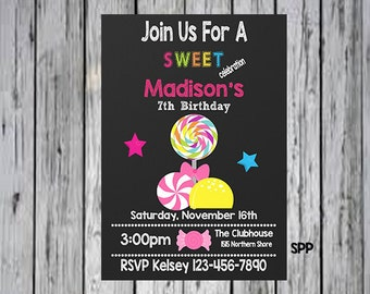Candy Party Invitation, Candy Birthday Invitation, Candy Party Printable