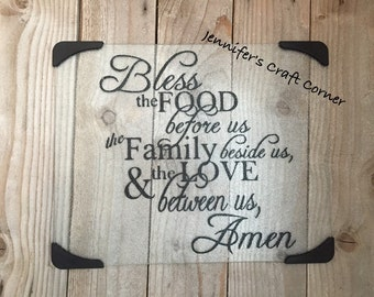 Glass Cutting Board, Religious, Wedding, Hostess Gift, Bless This Food, Housewarming, Christmas, Birthday, Mom,  Gifts, Personalized Gifts