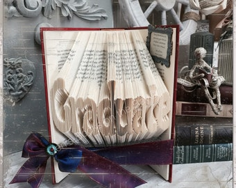 Folded book art, graduation gift, graduation party, book art, folded book, graduation decor gift, university graduate,