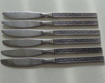 Kashmir silverware Vintage Stainless Nasco Flatware 6 Dinner Knives