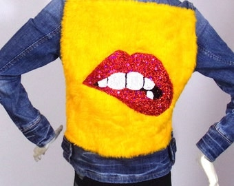 Denim jacket Kustom4U Mouth red yellow fur